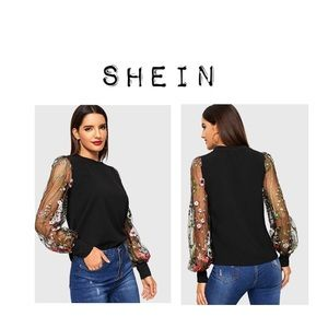 Shein Black embroidered floor sleeve blouse